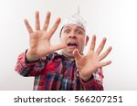 young man in a tin foil hat... | Shutterstock . vector #566207251