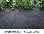 fresh herbs on dark stone... | Shutterstock . vector #566212849