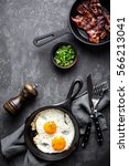bacon and eggs   Shutterstock . vector #566213041