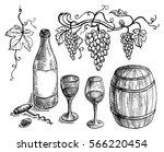 set of wine bottle and barrel... | Shutterstock .eps vector #566220454