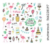 flamingo party objects set | Shutterstock .eps vector #566228197