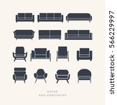 Set Of Silhouettes Of Sofas On...