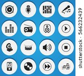 set of 16 music icons. includes ...