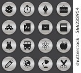 set of 16  knowledge icons.... | Shutterstock . vector #566233954
