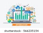 seo optimization. flat... | Shutterstock .eps vector #566235154