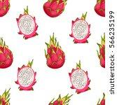 pitaya fruit seamless vector... | Shutterstock .eps vector #566235199