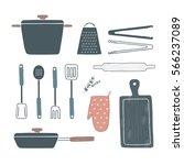 pan  pot  oven mitt  spatula ... | Shutterstock .eps vector #566237089
