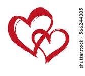 heart brush painted banner. two ... | Shutterstock .eps vector #566244385