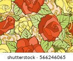 seamless pattern with stylized... | Shutterstock .eps vector #566246065