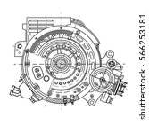 drawing the electric motor... | Shutterstock .eps vector #566253181