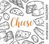 cheese milk organic vector hand ... | Shutterstock .eps vector #566254099