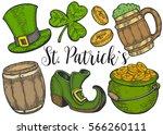 hand drawn leprechaun hat ... | Shutterstock .eps vector #566260111