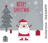 christmas card with cute santa... | Shutterstock .eps vector #566268499