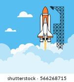 rocket soars into the sky... | Shutterstock .eps vector #566268715