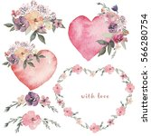 Watercolor floral illustration with pink hearts, flowers, heart-shaped flower wreath and floral elements