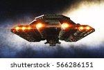 futuristic space ship in ....   Shutterstock . vector #566286151
