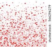 red hearts confetti. bottom... | Shutterstock .eps vector #566296279
