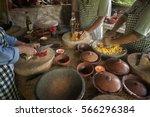 balinese cooking class. food in ... | Shutterstock . vector #566296384