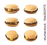 fresh cooked hamburger isolated ... | Shutterstock . vector #566302975