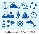 set on marine theme  dark blue... | Shutterstock .eps vector #566310964