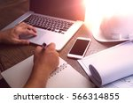 businessman working with... | Shutterstock . vector #566314855