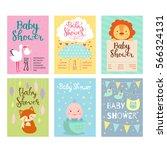 baby shower invitation vector... | Shutterstock .eps vector #566324131