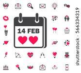valentines day flat calendar... | Shutterstock .eps vector #566334319