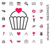 valentine's day cupcake flat... | Shutterstock .eps vector #566334325