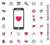 mobile heart symbol love or...   Shutterstock .eps vector #566334355