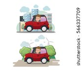 woman driver red car city eco... | Shutterstock .eps vector #566337709
