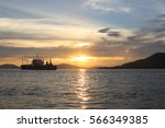 ship in lake with beautiful... | Shutterstock . vector #566349385