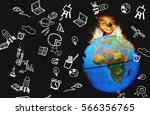 children touch globe model.he... | Shutterstock . vector #566356765
