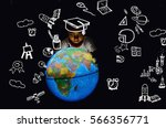 children touch globe model.he... | Shutterstock . vector #566356771