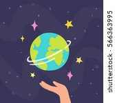 hand holding planet earth.... | Shutterstock .eps vector #566363995