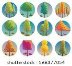vector set of round blue labels ... | Shutterstock .eps vector #566377054