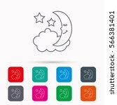 night or sleep icon. moon and... | Shutterstock . vector #566381401