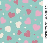 seamless pattern with hearts... | Shutterstock .eps vector #566381521