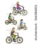 family rides a bicycle ride ... | Shutterstock .eps vector #566386831