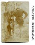 Vintage photo of soldier (circa 1910) - stock photo