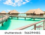 traditional over water villas... | Shutterstock . vector #566394481