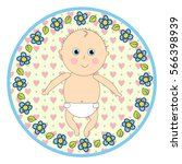 infant in diapers round sticker ... | Shutterstock .eps vector #566398939
