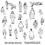 fast sketches of people on a... | Shutterstock .eps vector #566400265