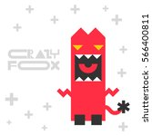 funny cartoon crazy fox. vector ... | Shutterstock .eps vector #566400811