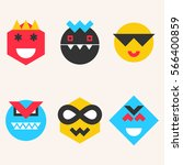 set of emoticons  smile face... | Shutterstock .eps vector #566400859
