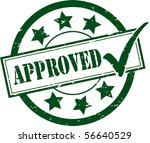 a green 'approved' rubber stamp ... | Shutterstock .eps vector #56640529