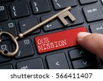 Closed up finger on keyboard with word OUR MISSION