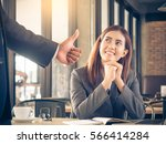 boss employer admires to young... | Shutterstock . vector #566414284
