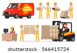 set of service delivery. staff  ... | Shutterstock .eps vector #566415724
