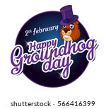 cartoon old groundhog in a hat...   Shutterstock .eps vector #566416399