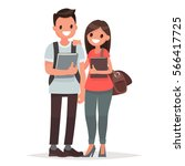 students guy and girl with... | Shutterstock .eps vector #566417725